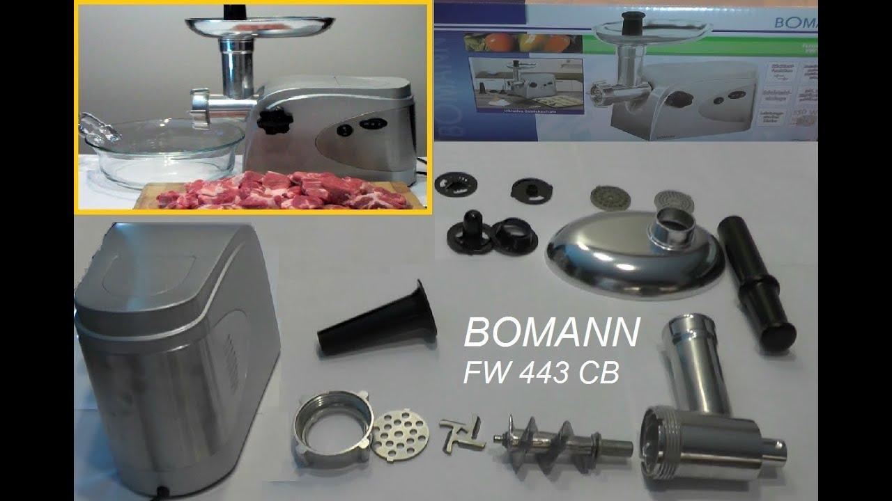 elektrischer fleischwolf test bomann fw443cb auspacken aufbau youtube. Black Bedroom Furniture Sets. Home Design Ideas