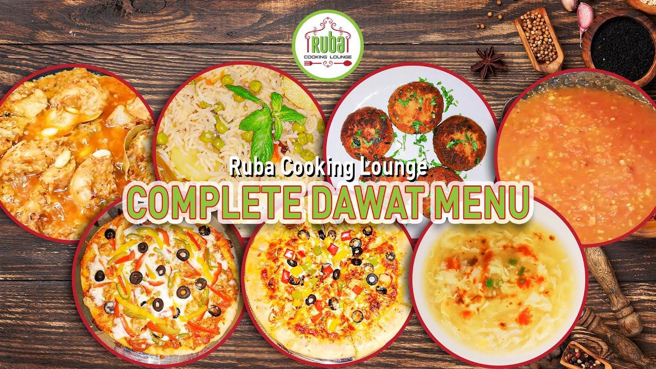 Dawat Menu Ideas by Ruba Cooking Lounge| Desi, and non-Desi recipes' ideas for Dawat| Dawat Rec