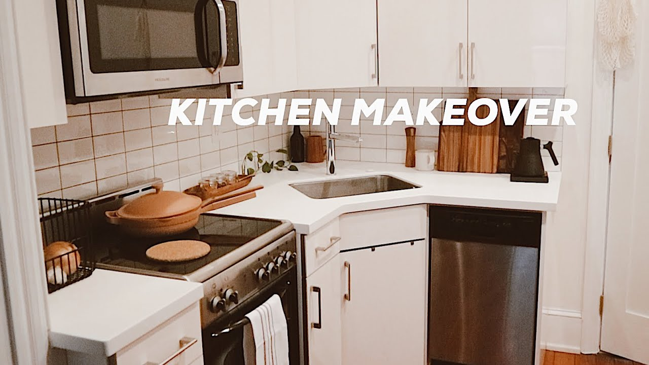 Diy Kitchen Makeover On A Budget Small Kitchen Design Ideas Renter Friendly Youtube