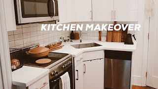 DIY KITCHEN MAKEOVER ON A BUDGET | Small Kitchen Design Ideas, Renter Friendly!