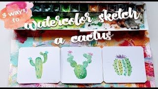 Color Snack Sunday - 3 Easy Ways To Watercolor A Cactus - DIY Art Tutorial