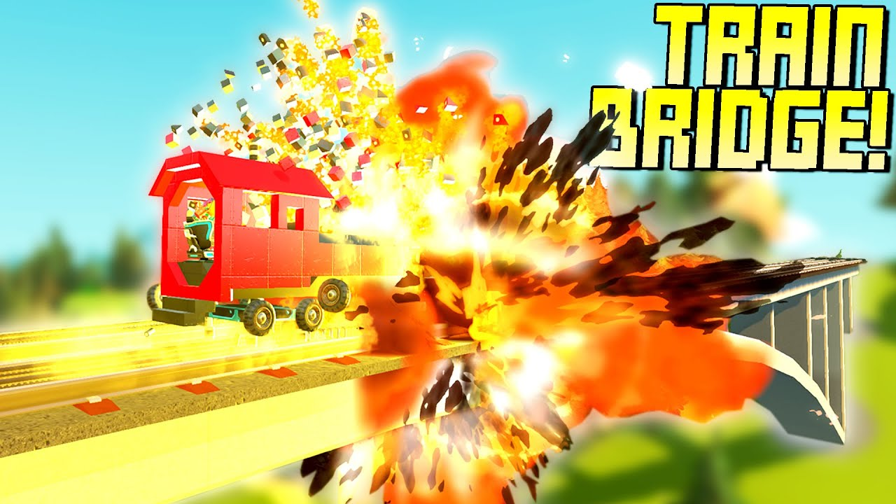 Driving a Train Across a Bridge Rigged with Explosives! - Scrap Mechanic Gameplay