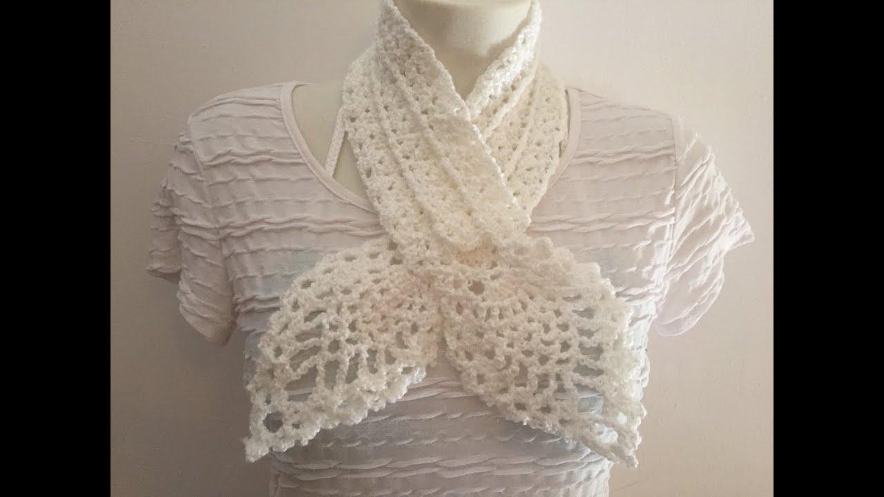Rose Clair charpe Tricote Au Crochet Vintage Motif