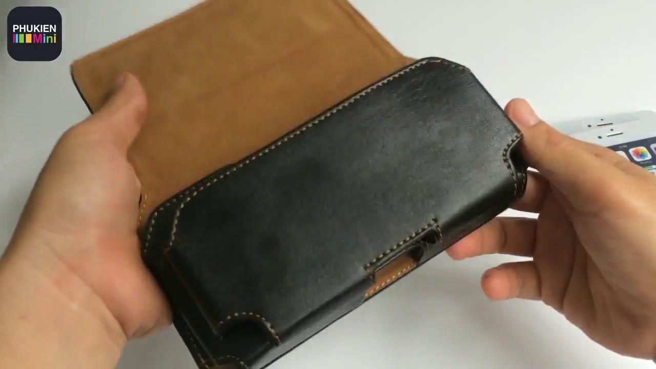 Túi da 2 ngăn đeo hông thắt lưng cho điện thoại 5 inch, 5.2 inch, 5.5 inch, 6 inch, 6.3 inch
