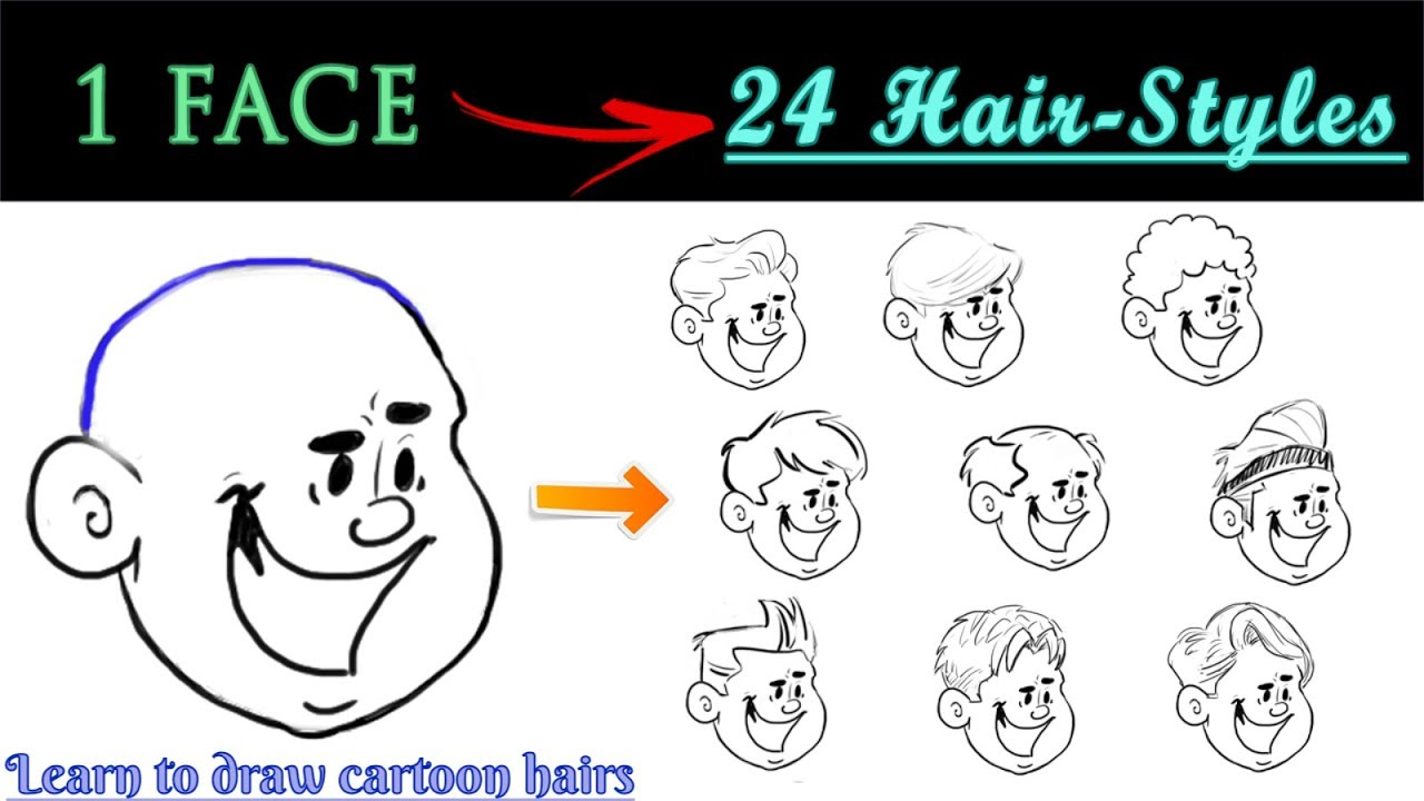 how to draw hairs of cartoons - male | learn to draw 24 hairstyles for your cartoon character |