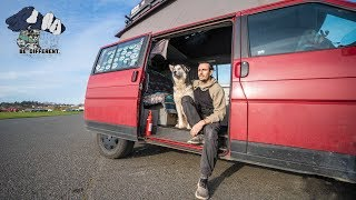 Software Engineer Lives in Van with Dog to Travel and pursue Passions. Westfalia Eurovan Tour.