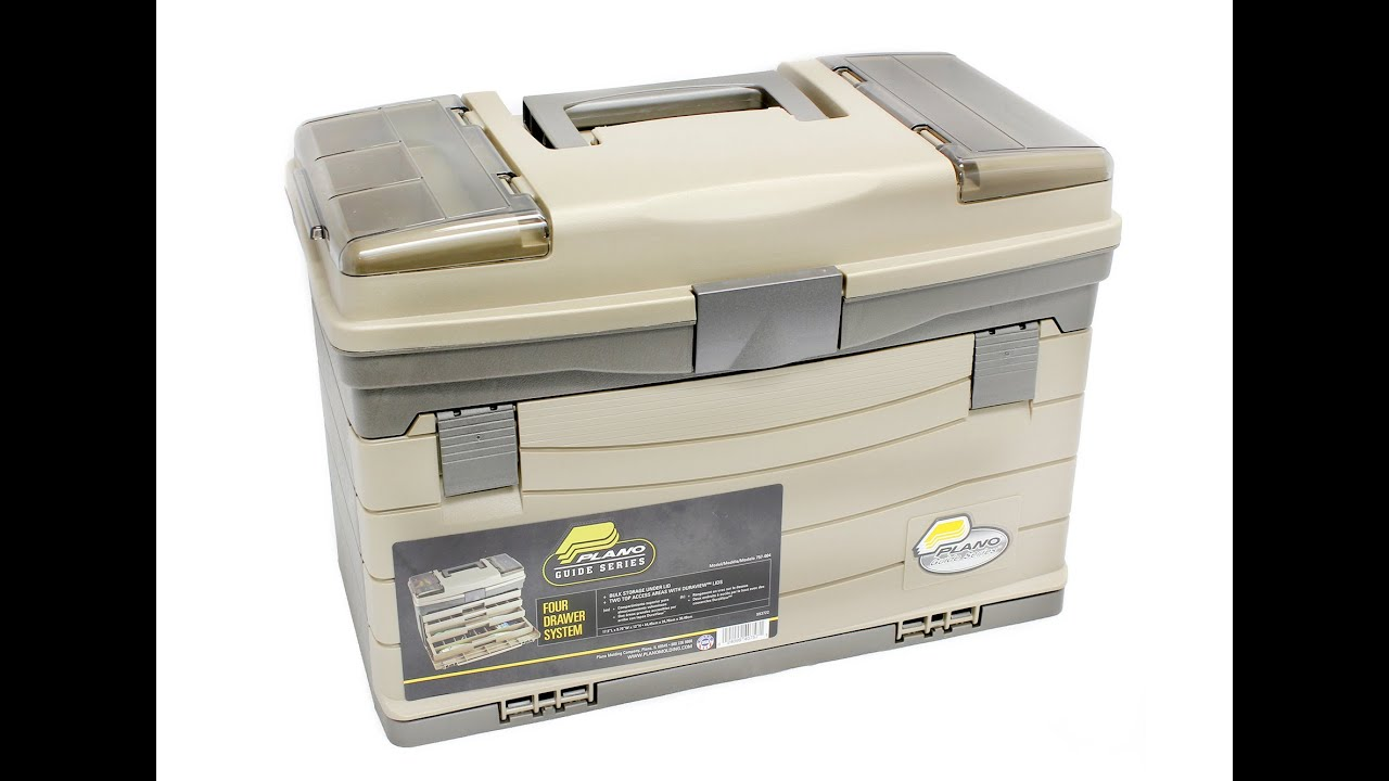 Plano 757 4 drawer tackle box with top access youtube for Plano fishing tackle boxes