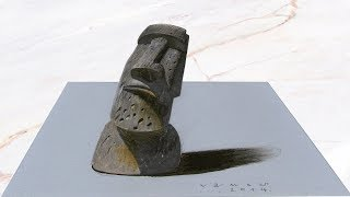 EASTER ISLAND HEAD - Drawing 3D Illusion of Head - Trick Art on Paper