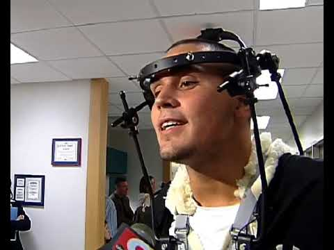 From The Vault Injured Cincinnati Bengals Linebacker Davidf Pollack Visits Kids At Hospital