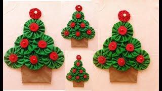 Árvore de Natal Feita de Fuxico para Aplicação no Pano de Prato