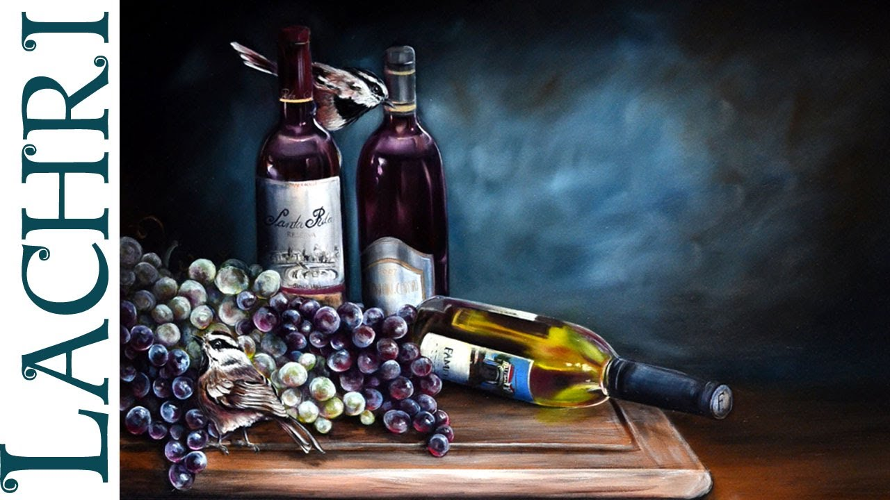Grapes Wine Bottles And Birds Speed Painting Time Lapse