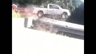 Truck Launches Off Bridge w/ Trailer Attached