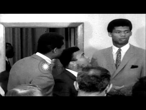Champion Cassius Clay meet top African American athletes during African American ...HD Stock Footage