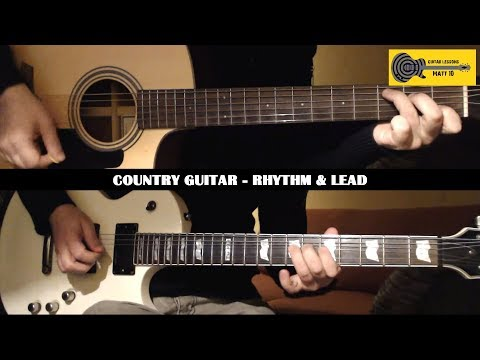 Country GUITAR LESSON with TAB - Easy Country Guitar Rhythm and Solo