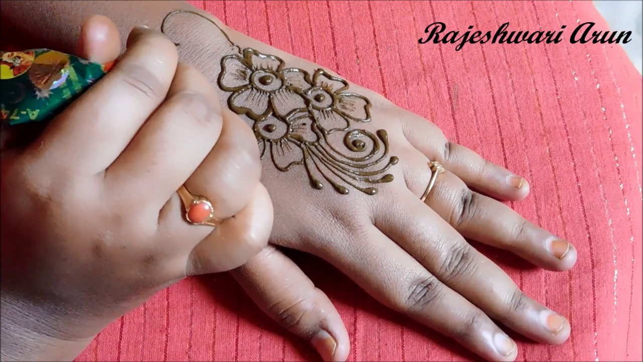 simple flower henna mehndi designs for hands for beginners