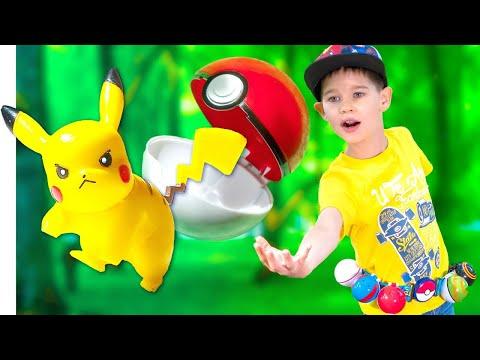 Покемоны Игрушки и разноцветные Покеболы. Pokemons In Real Life.