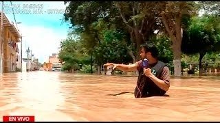 Piura: nivel de agua aumenta en la Plaza de Armas