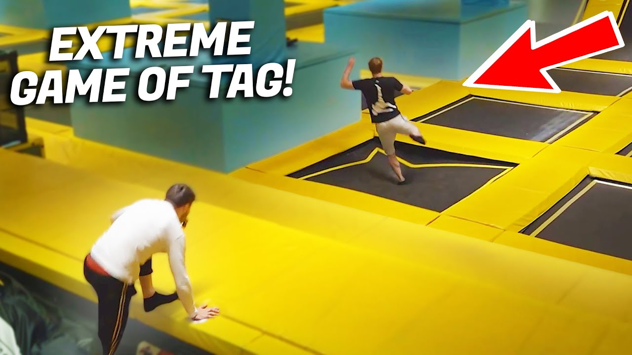 EXTREME WORLD CHASE TAG IN TRAMPOLINE PARK!!