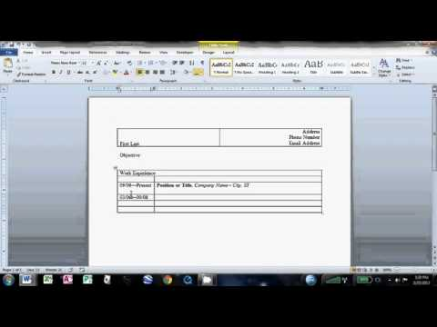 How to Make an Easy Resume in Microsoft Word 2010 - YouTube