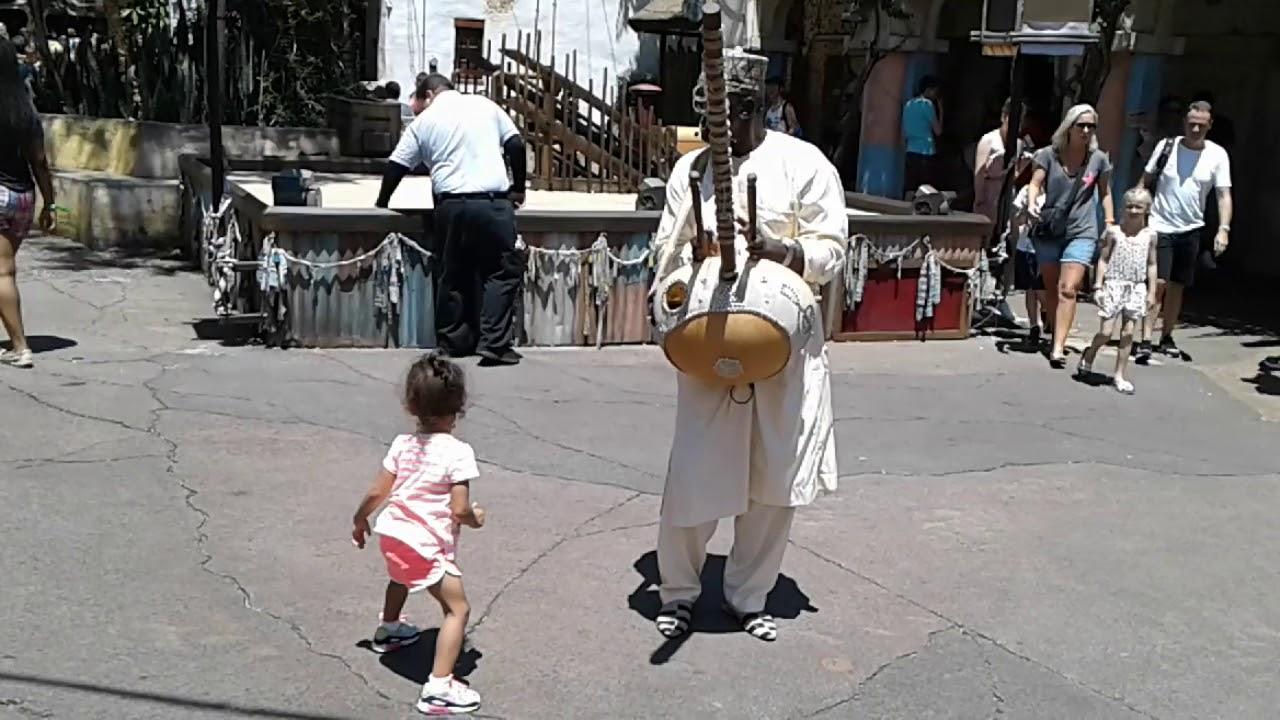 Kora Player And Dancing Baby at Disney Animal Kingdom Orlando August 2017
