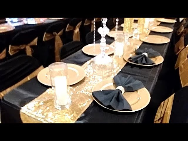 diy black and gold table setting black