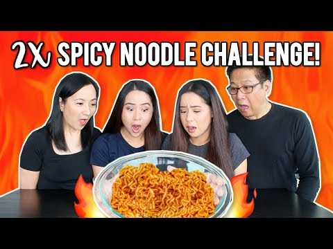 2X SPICY NOODLE CHALLENGE! FAMILY EDITION!   Caleon Twins