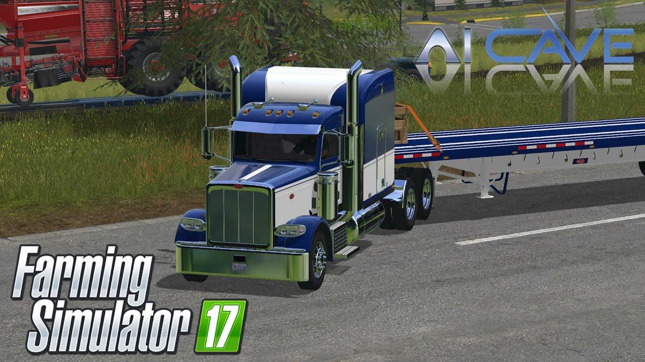 Farming Simulator 2017 Mods - Peterbilt 388 Truck and Manic Flatbed Trailer