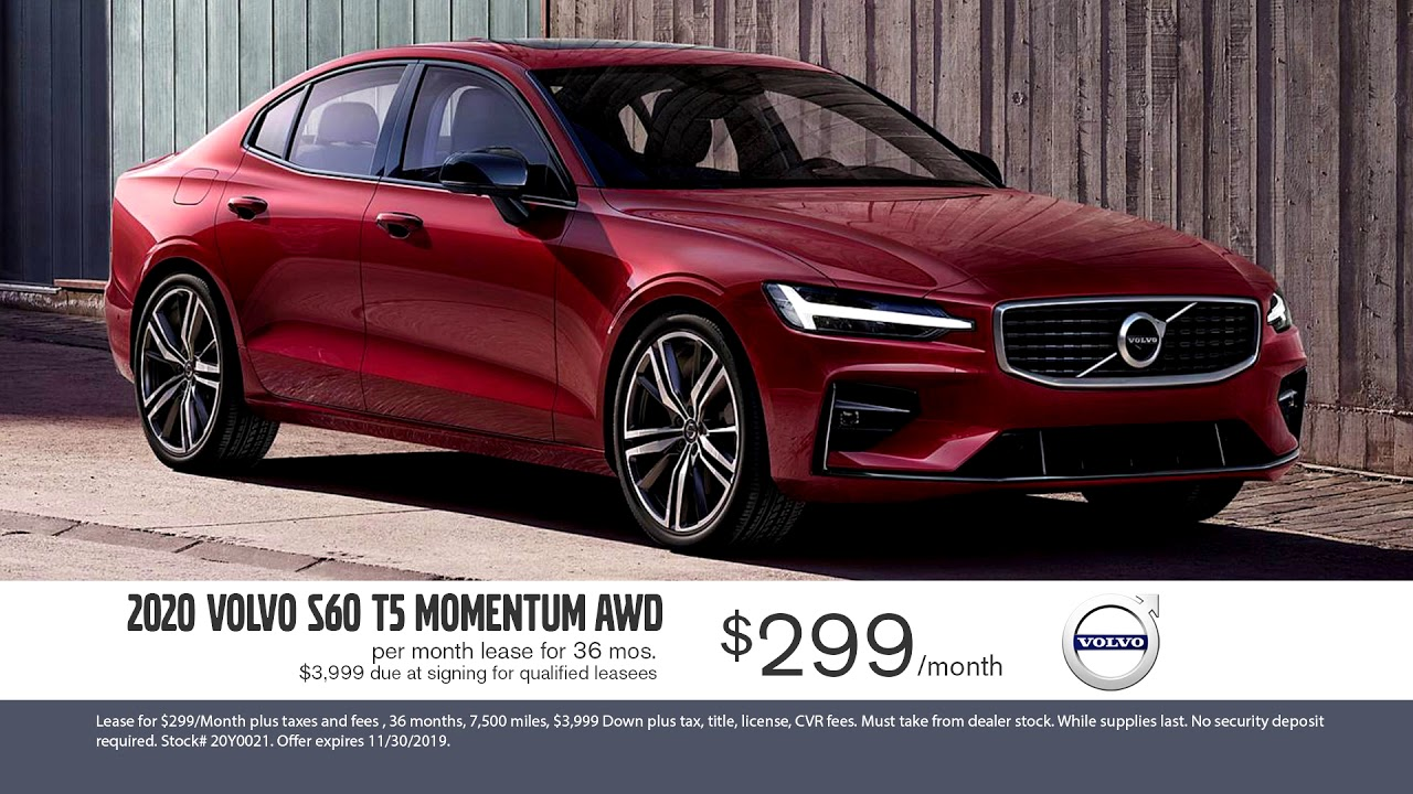 Black Friday ALL Month Long! 2020 Volvo S60 Lease: $299/Month