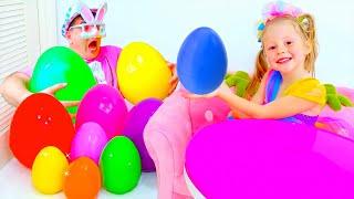 Nastya dan ayah mengumpulkan kejutan yang tidak biasa untuk anak-anak