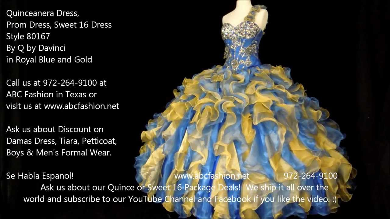 80167 Royal Blue & Gold Q by Davinci Quinceanera Dress ...