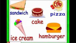 English for children,ESL Kids Lessons - Food and eating - hamburger, ice cream, chocolate.flv