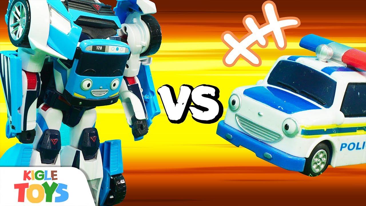 경찰차, 소방차, 구급차 VS 변신 로봇 | 장난감 자동차 버스 | 타요 어벤져스 | 키글 토이 - KIGLE TOYS