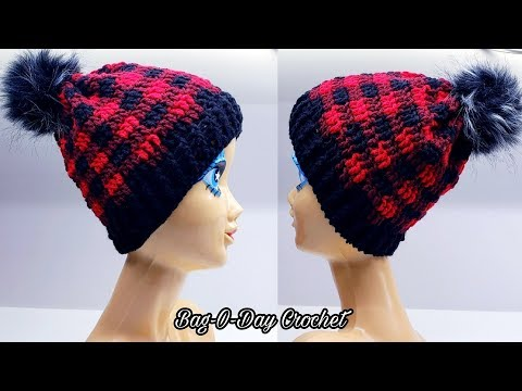 How To Crochet A Unisex Beanie Hat | Plaid is the New Black | Bag O Day Crochet Tutorial #551