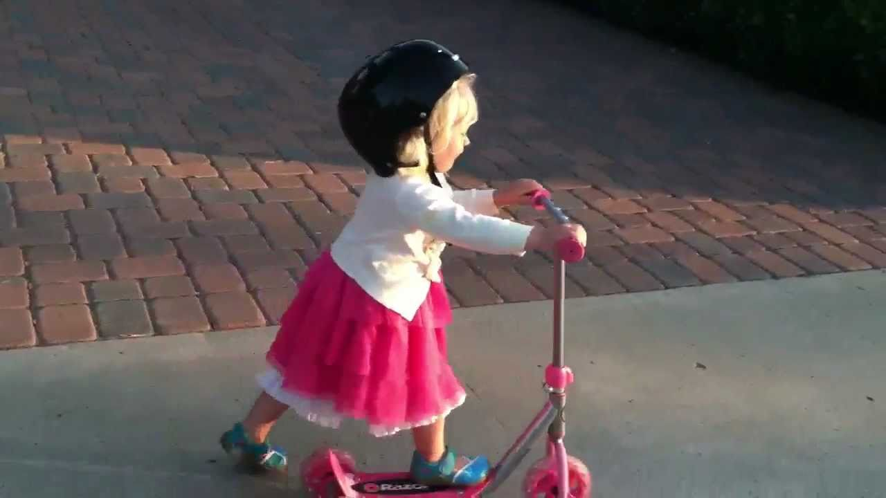 My Toddler On A Razor Scooter Super Duper Fast And Humble Youtube