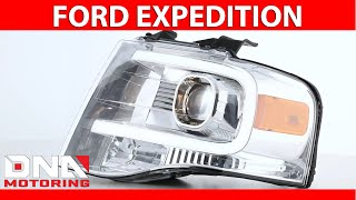 DNA Motoring 07-14 Ford Expedition Chrome Amber Headlights
