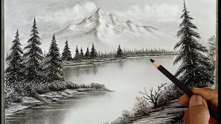 Pencil drawing landscape scenery/ Snow mountain landscape drawing with pencil/