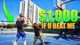 If You Beat Me, You Get $1,000! 1v1 Basketball!