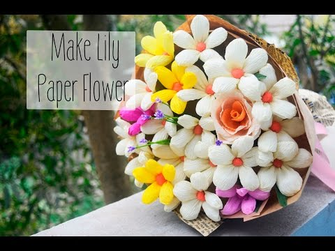 Lily Paper flower tutorial- Easy DIY Paper lily- Làm hoa giấy hoa lily