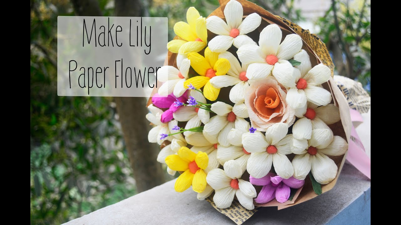 Lily Paper Flower Tutorial Easy Diy Paper Lily Lm Hoa Giy Hoa