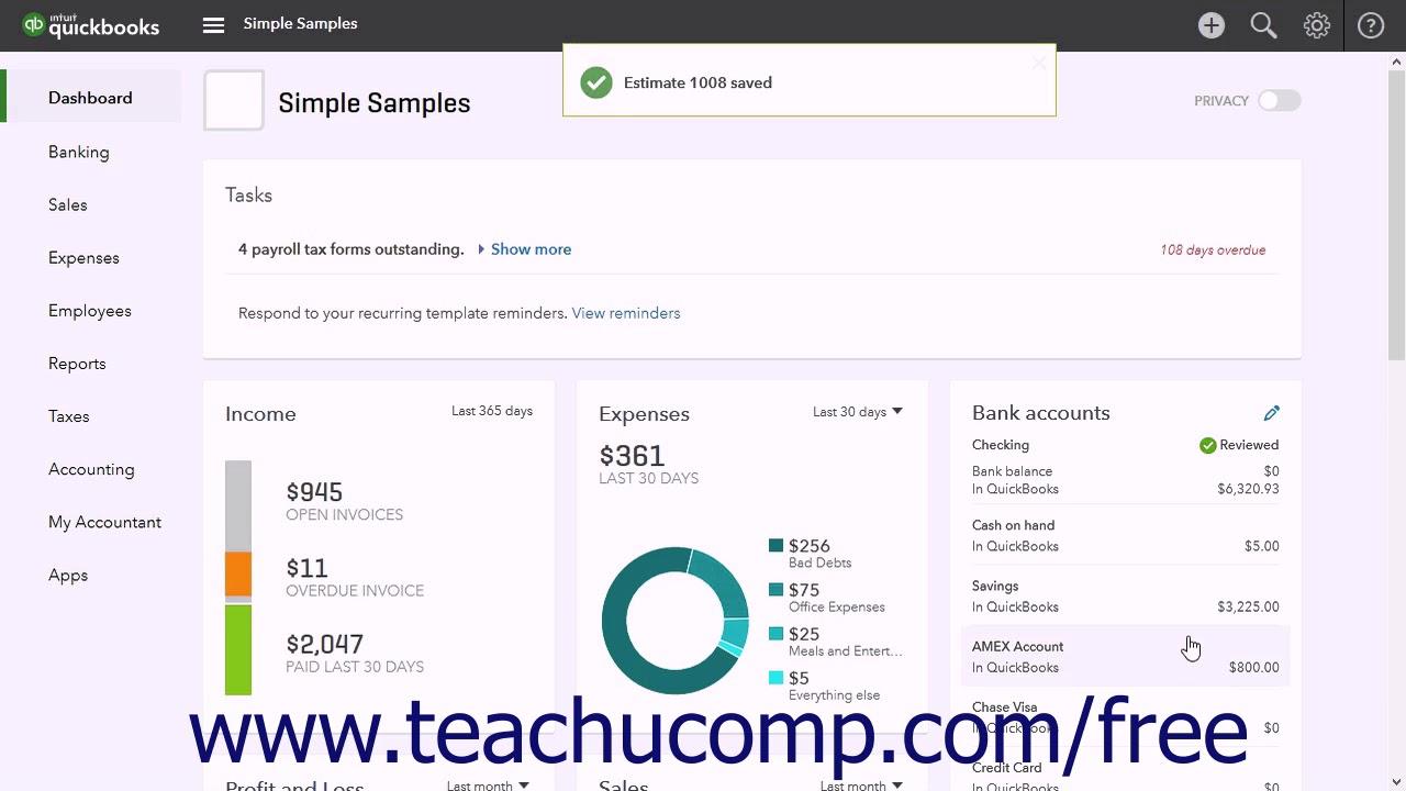 QuickBooks Online Plus Tutorial Invoicing From An Estimate - Intuit invoicing online