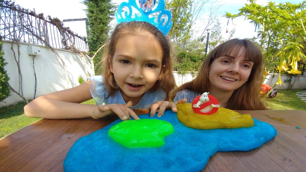 Bahçede Mavi Slime Yaptık Hazır Slime Ile Kıyasladık Eğlenceli