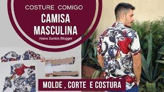 Costure comigo camisa masculina com manga curta e colarinho Alana Santos Blogger
