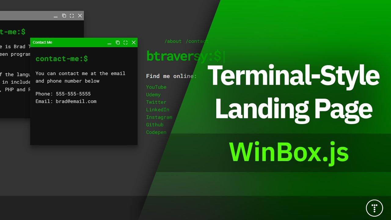 Terminal Style Landing Page | WinBox.js