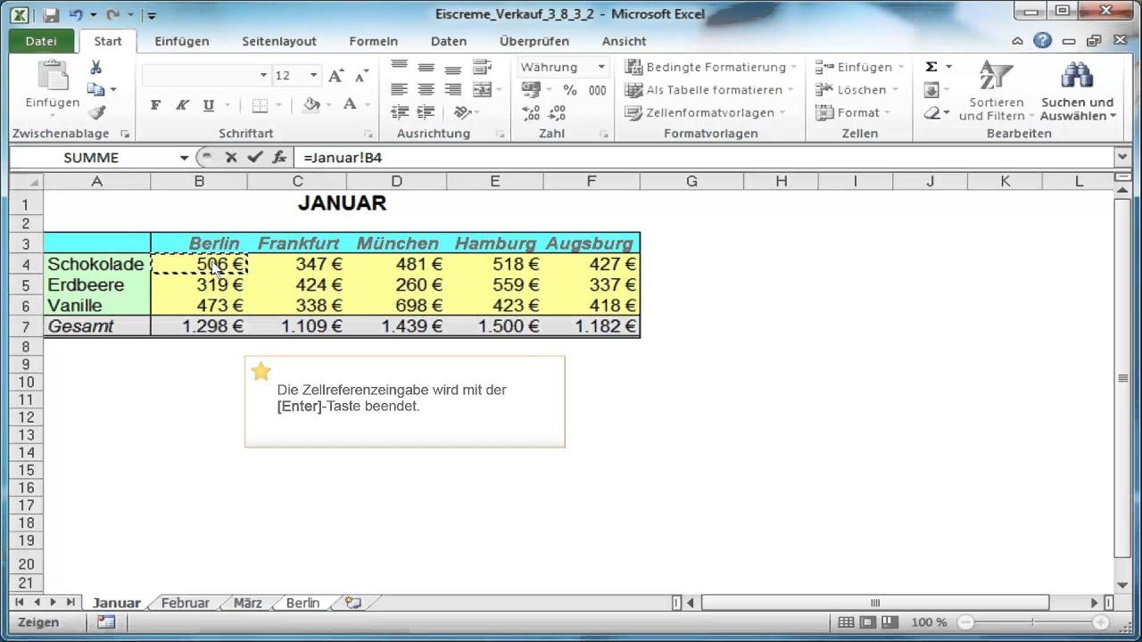 Excel: Zellbezüge aus einem anderen Tabellenblatt - YouTube