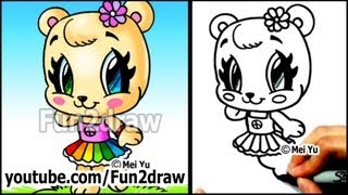 Cute Animals - How to Draw a Bear Girl, Rainbow Skirt and Flower