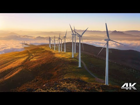 Coastal Windmills by Drone - Australia (4K 60FPS) 30 MIN Ambient Nature Relaxation™ Film + Spa Music