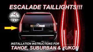 Chevy Tahoe Suburban GMC Yukon XL with Escalade Tail Lights Conversion How-To Install LED 2007-2014