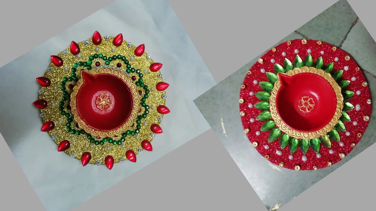 Light Up Your House This Diwali Diya Decoration With Sparkle Glitter Sheets Youtube