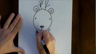 How To Draw A Reindeer Cartoon Christmas Rudolph Step By Step For Beginners