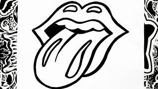 como dibujar el logo de los rolling stones | how to draw rolling stones logo